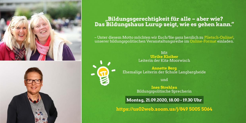 Bild: Einladung zu Plietsch-Online am 21. September um 18 Uhr über Zoom