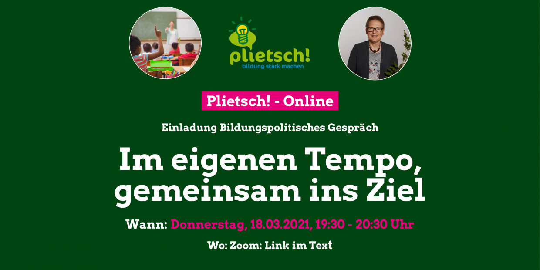 """Grüner Hintergrund mit dem Schriftzug """"Im eigenen Tempo, gemeinsam ins Ziel!"""", Donnerstag, 18.03., 19:30 Uhr"""