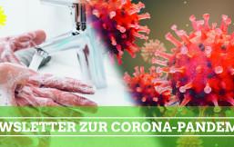Links im Bild: Hände werden gewaschen; Rechts im Bild: Viren-Abbildung